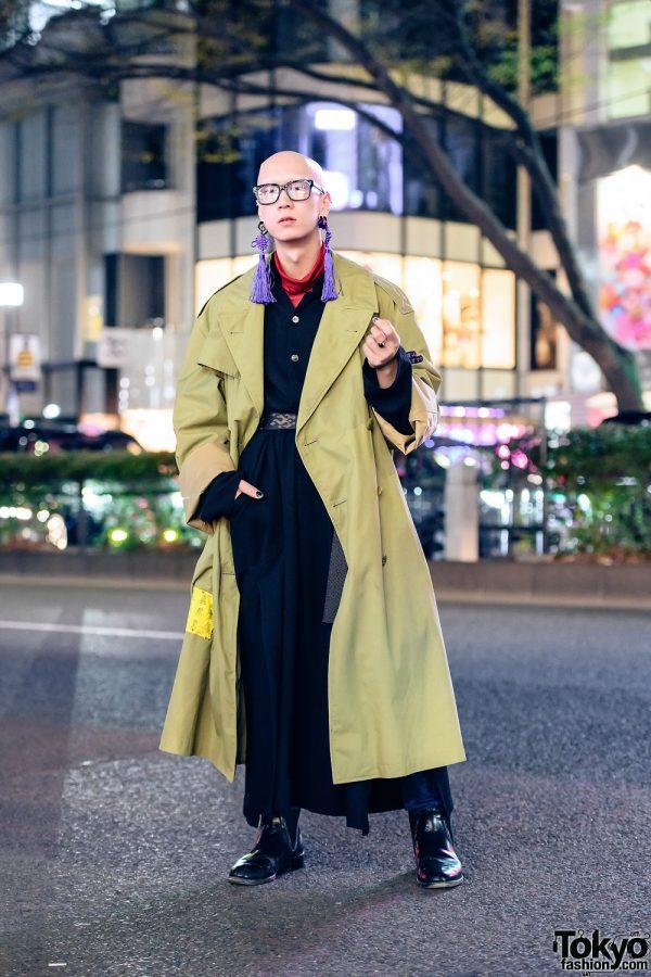 Tokyo Menswear Street Style w/ Bull Horn Snail Earrings, Tassel Earrings, Custom Vintage Overcoat, Belted Maxi Coat, Yohji Yamamoto & Loake Chelsea Boots