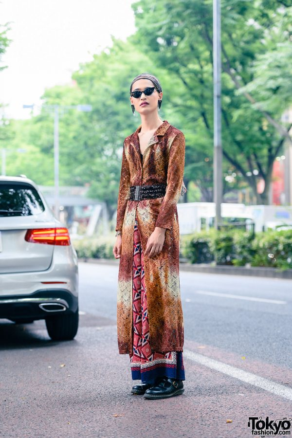 Japanese Style w/ Pointy Sunglasses, Triangle Earrings, Sequin Belt, Dyed Lace Overcoat, Y's Pink Print Pants & Dr. Martens Mary Janes