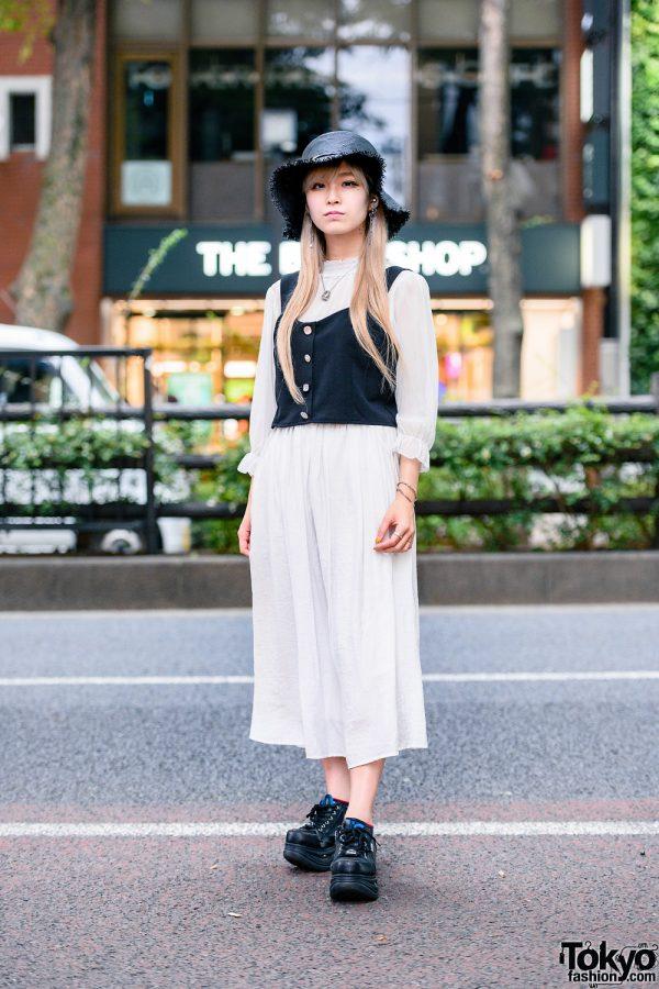 Tokyo Monochrome Style w/ Straw Hat, Bless Accessories, Shimamura Ruffle Blouse, Maxi Skirt & Yosuke
