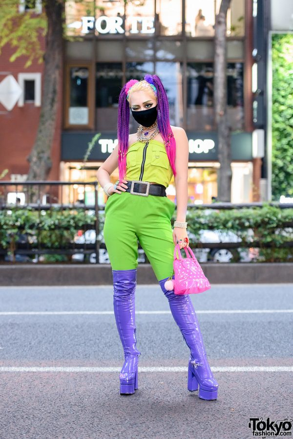 Neon Colors in Harajuku w/ Layered Statement Necklaces, Kol Me Baby Tube Top, Claire's, Forever21, Romantic Standard & Dolls Kill Thigh-High Patent Boots