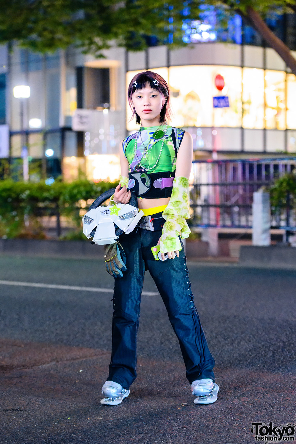 Avant-Garde Harajuku Style w/ ESQAPE Spring Sneakers, TaxEvasion Shanghai Bag, Slash Corset/Harness & Never Mind The XU