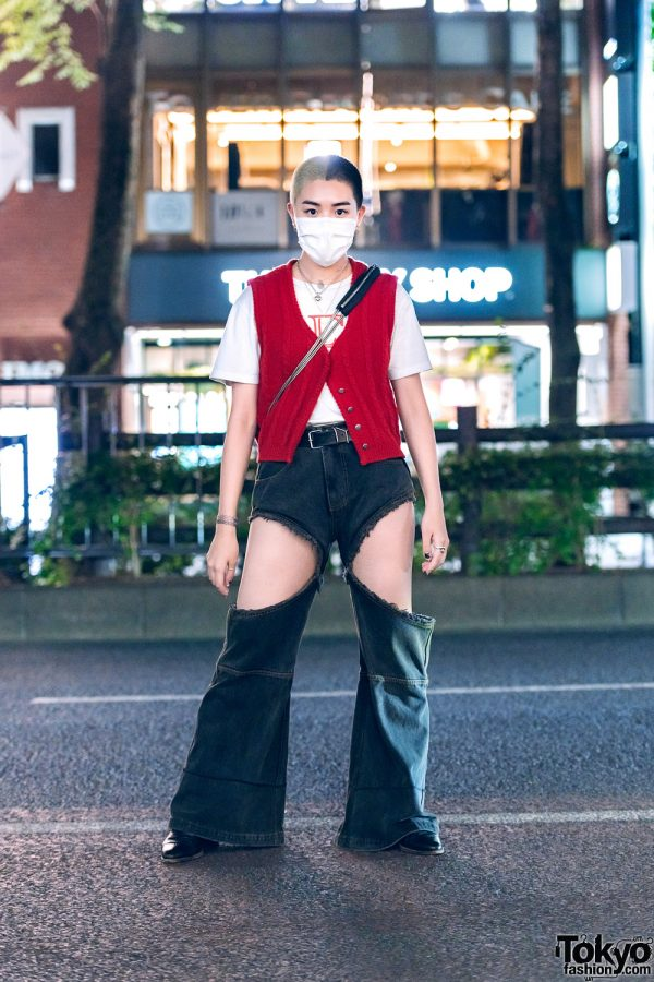 Tokyo Streetwear w/ Two-Tone Buzz Cut, Layered Necklaces, Vintage Vest, Ashley Williams, Telfar Cutout Pants, Alexander Wang & Pointy Boots