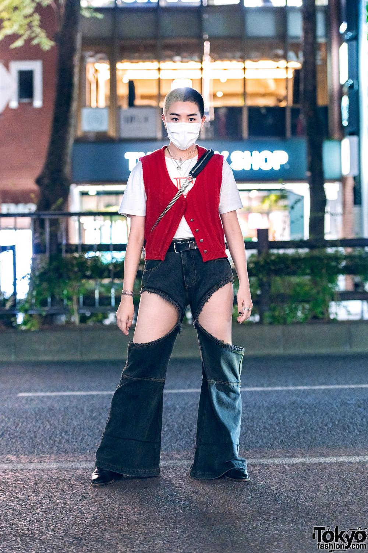 Tokyo Streetwear w/ Two-Tone Buzz Cut, Layered Necklaces, Vintage Vest, Ashley Williams, Telfar Cutout Pants, Alexander Wang & Pointy Boots
