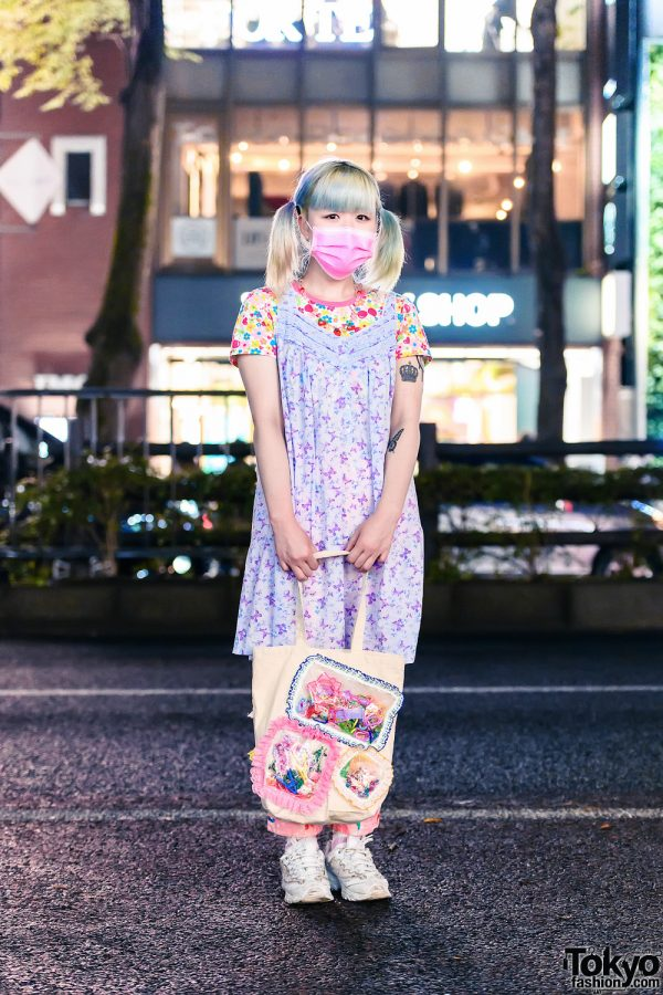 Pastel Print Style in Tokyo w/ Twin Tails, Daisy Lovers Necklace, Mezzo Piano, Panama Boy, The Little Mermaid Pajama Pants, Handmade Bag & Skechers