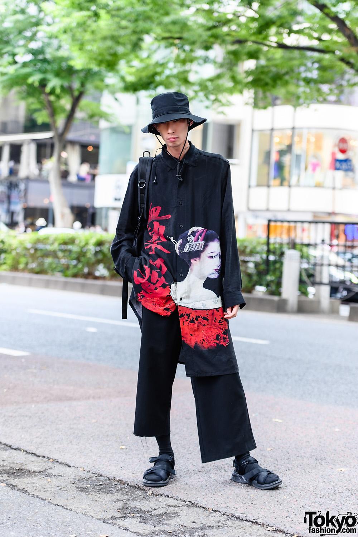 Minimalist Japanese Street Style w/ Yohji Yamamoto Graphic Top, Bucket Hat, Yohji Yamamoto Backpack, Cropped Pants & Strap Sandals
