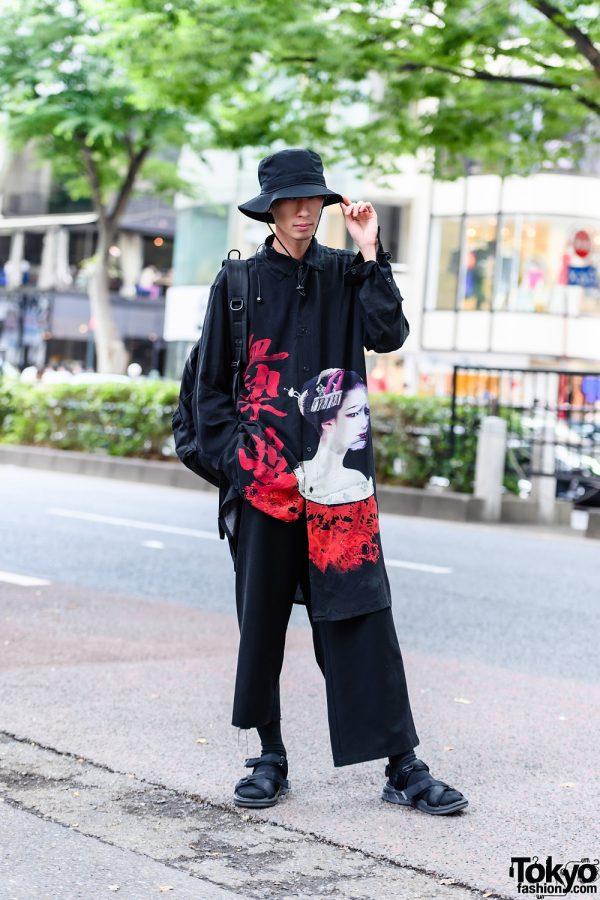 Minimalist Japanese Street Style W Yohji Yamamoto Graphic Top Bucket Hat Yohji Yamamoto Backpack Cropped Pants Strap Sandals Dokipress
