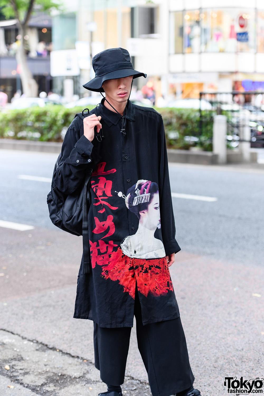 Minimalist Japanese Street Style W Yohji Yamamoto Graphic Top Bucket Hat Yohji Yamamoto Backpack Cropped Pants Strap Sandals Tokyo Fashion