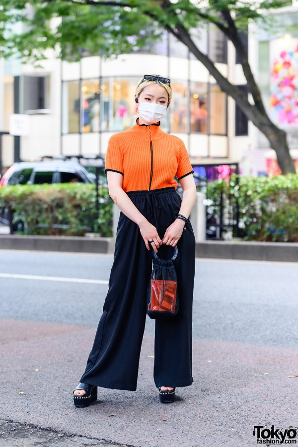 Japanese Model in Vintage Harajuku Street Style w/ Orange Top, Wide Leg Pants, Platform Slides and H&M Accessories