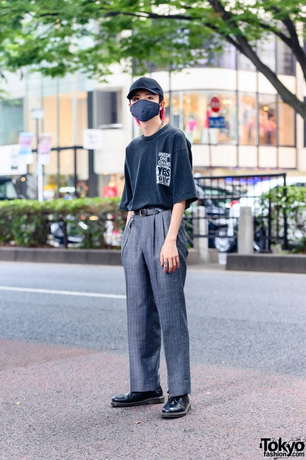 Japanese Model in Monochrome Fashion w/ Cote Mer Shirt, Gray Pinstripe Pants and Dr. Martens Oxford Shoes