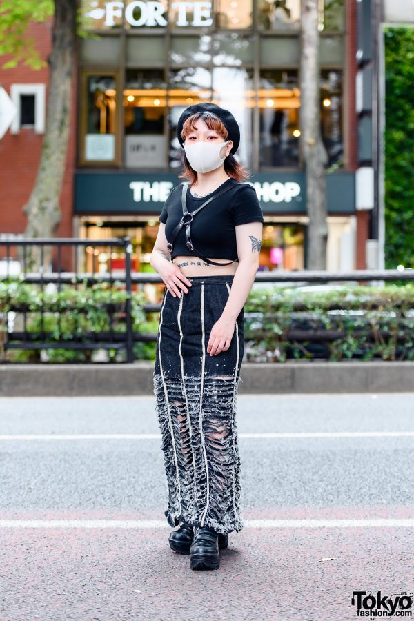 Dark Tokyo Street Style in Harajuku w/ Butterfly Tattoos, Beret, Crop Top, Leather Harness, Remake Ripped Skirt & Platform Boots
