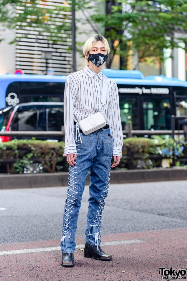 Tokyo Denim Street Style with Resale Striped Long Sleeves, Contenastore Denim Jeans, ASOS Heeled Boots & Marc Jacobs Snapshot Bag