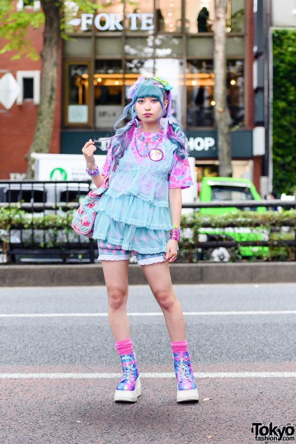 Blue and Pink Harajuku Street Style w/ 6%DOKIDOKI Lace Camisole, Pink Leopard Print Shirt, Checkered Shorts and Demonia Metallic Platform Shoes