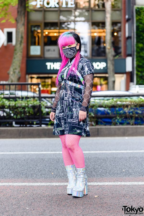 Japanese Cyber Street Style w/ Tri-Color Hair, Winged Eye Makeup, Reflector Harness, Dolls Kill Barbed Wire Top & Iridescent Platform Boots