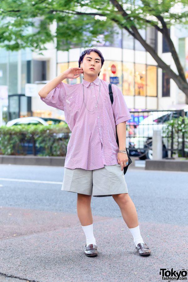 Streetwear Style in Tokyo w/ Purple Hair, Y Project Pinstripe Shirt, Jil Sander, Issey Miyake Shirred Bag, Cartier & Prada Loafers