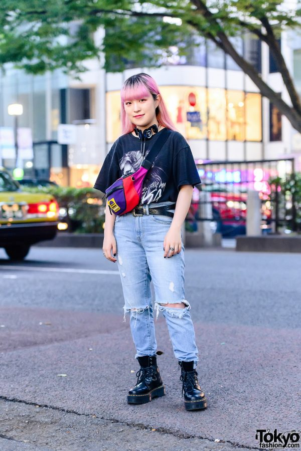 Casual Streetwear Style w/ Pink Hair, Headphones, WC Lady Gaga Shirt, Ripped Jeans, Marc Jacobs Colorblock Waist Bag, Kinji & Dr. Martens