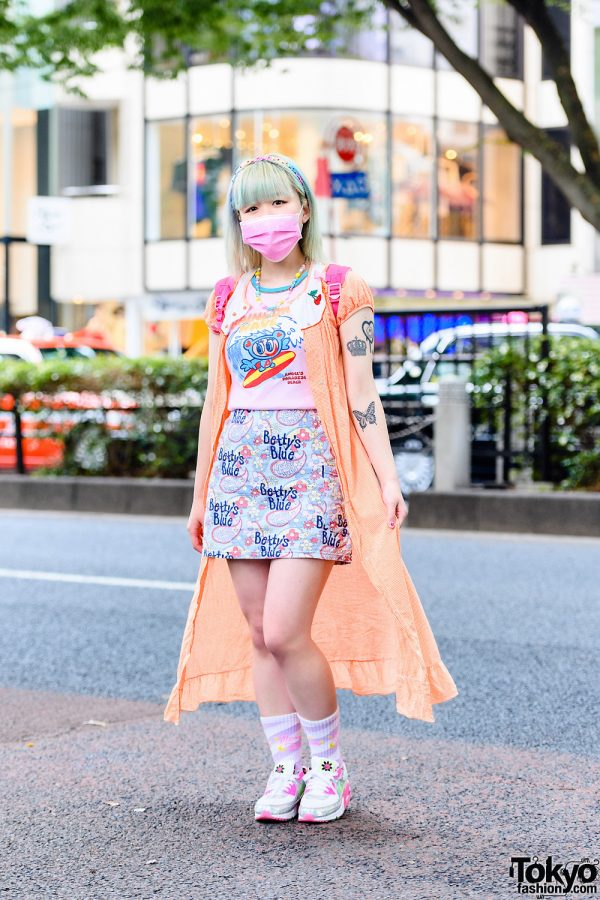 Pastel Kawaii Street Style w/ Pink Mask, Kinji Gingham Dress, Angel Blue, Betty's Blue, Neon Moon, Daisy Lovers, Disney Princesses Backpack & Nike Sneakers