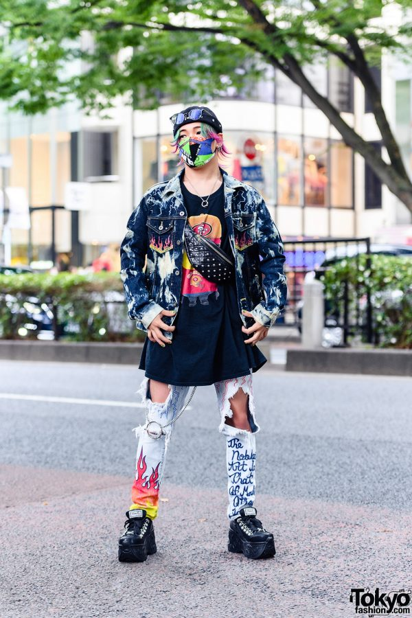 Graphic Streetwear Style w/ Two-Tone Hair, Patchwork Mask, Acid Wash Denim Jacket, Flames Ripped Jeans, Minions Shirt, Studded Waist Bag & Yosuke
