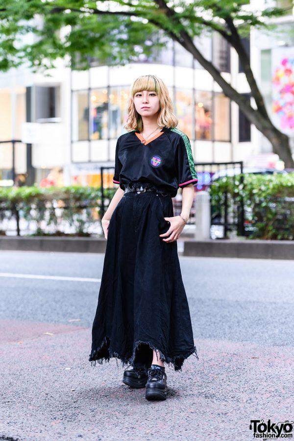 All Black Tokyo Style w/ Versace Top, Diesel Fringed Wide Pants, Bless Accessories & Yosuke Platform Shoes