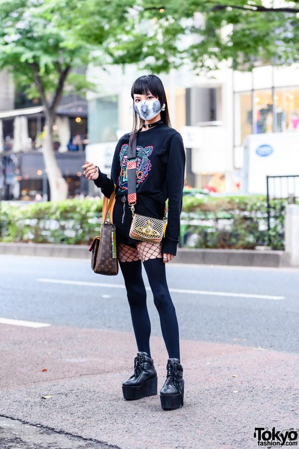 All Black Harajuku Street Style w/ Printed Face Mask, Kenzo Sweater, Shibuya 109, Vivienne Westwood Crossbody Bag, Louis Vuitton & Killstar Boots