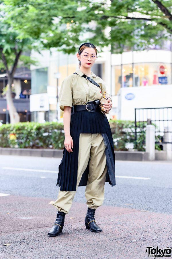 Two-Tone Tokyo Style w/ Kobinai Glasses, Dickies Khaki Jumpsuit, Remake Kinji Asymmetric Skirt, Vintage Accessories, Chanel Clutch & Zara Boots