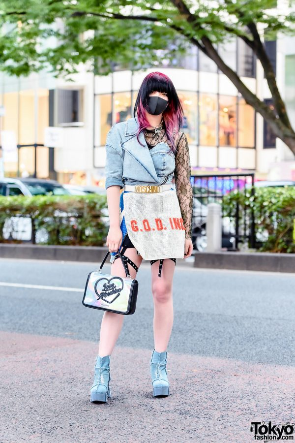 Tokyo Style w/ Two-Tone Hair, VidaKush, Leg Harness, Codona De Moda Denim Top, Gallerie GOD Wrap Skirt, Love Moschino Iridescent Bag & Dolls Kill Denim Booties
