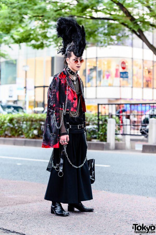 Tokyo Avant-Garde Streetwear Style w/ Huge Mohawk, Handmade Fashion, Comme des Garcons Mesh Top, LAD Musician Maxi Skirt & John Lawrence Sullivan Boots