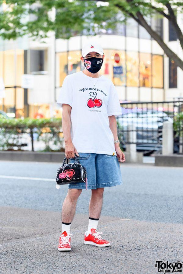 Harajuku Streetwear Style w/ Powerpuff Girls x X-Girl Mask, Kirsh Cherry T-Shirt, Chloe Denim Shorts, X-Girl Bag & Adidas Stan Smith V-Day Sneakers