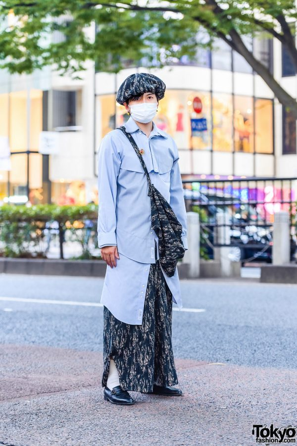 Harajuku Remake Menswear Style w/ Newsboy Cap, Leaf Brooch, Panelled Shirt, Batik Print Pants, Crossbody Bag & Valentino Fringe Loafers