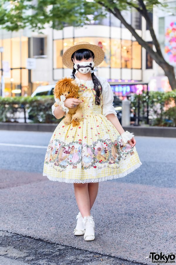 Baby, The Stars Shine Bright Sweet Lolita Style w/ Straw Hat, Cuddly Lion Plushie, Ruffle Cuffs, Gingham Lolita Dress & Bow Shoes