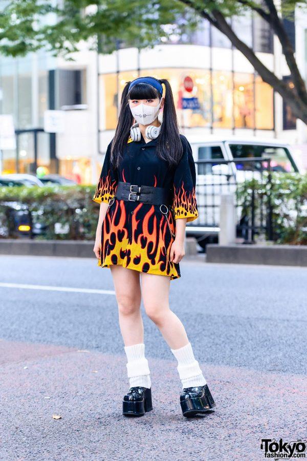 Twin Tails, Leg Warmers & Flames Harajuku Street Style w/ Beats by Dre Headphones, Never Mind the XU & Demonia Platforms