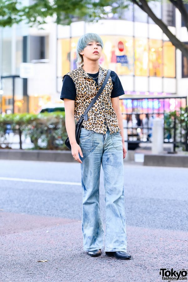 Casual Mens Streetwear Style w/  Vivienne Westwood Orb Earring, H&M Leopard Print Vest, Coach Crossbody Bag & Pointy Boots