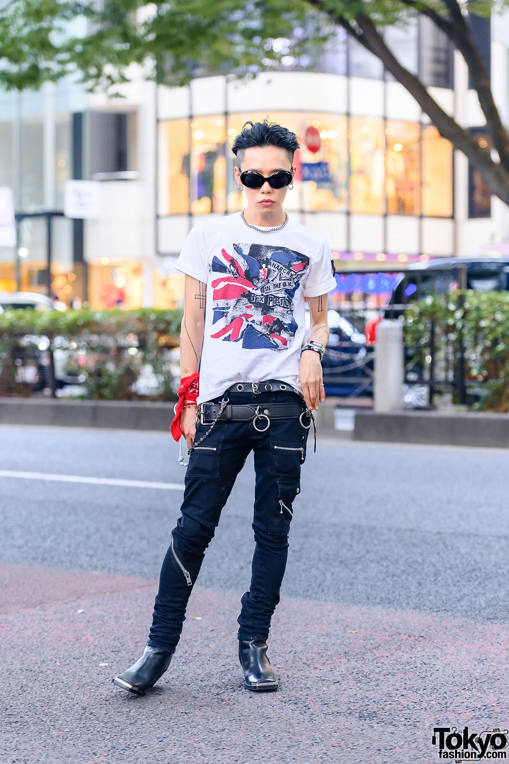 Harajuku Punk Style w/ Red Bandana, Tattoos, Hoop Earrings, Seditionaries Sex Pistols Shirt, 99%IS-, Layered Leather Belts & Acne Studios Square Boots