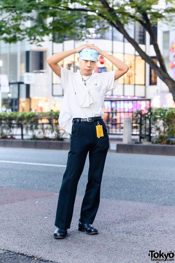 Japanese Street Style w/ Ripped Shirt, H&M, Jil Sander Trousers, Tiffany & Co., Maison Margiela & Alyx Boots
