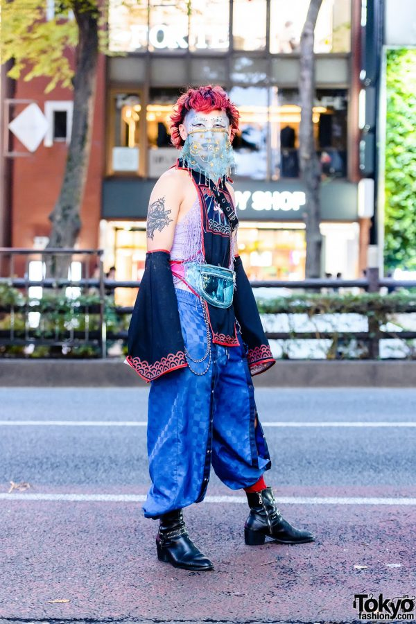 Japanese Streetwear Style w/ Face Art, Flared Arm Guards, Collared Shirt Panel, See-Through Waist Bag & Leather Boots