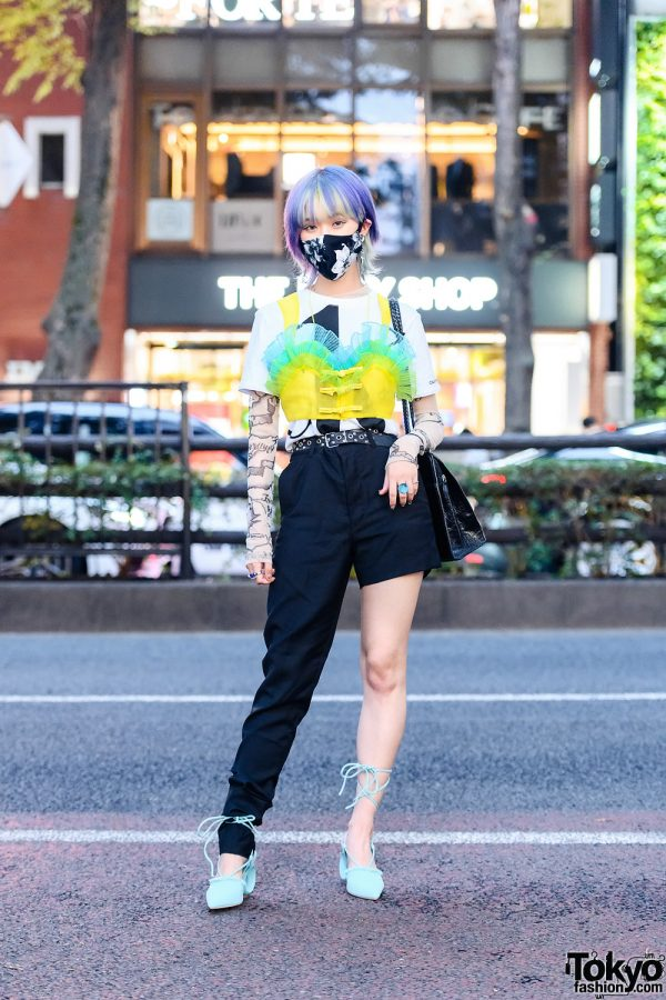 Street Style in Tokyo w/ Floral Mask, M.Y.O.B., Facetasm Cropped Camisole, Dressedundressed Half Pants, Vintage Calico Bag & Yello Sculptural Slingbacks