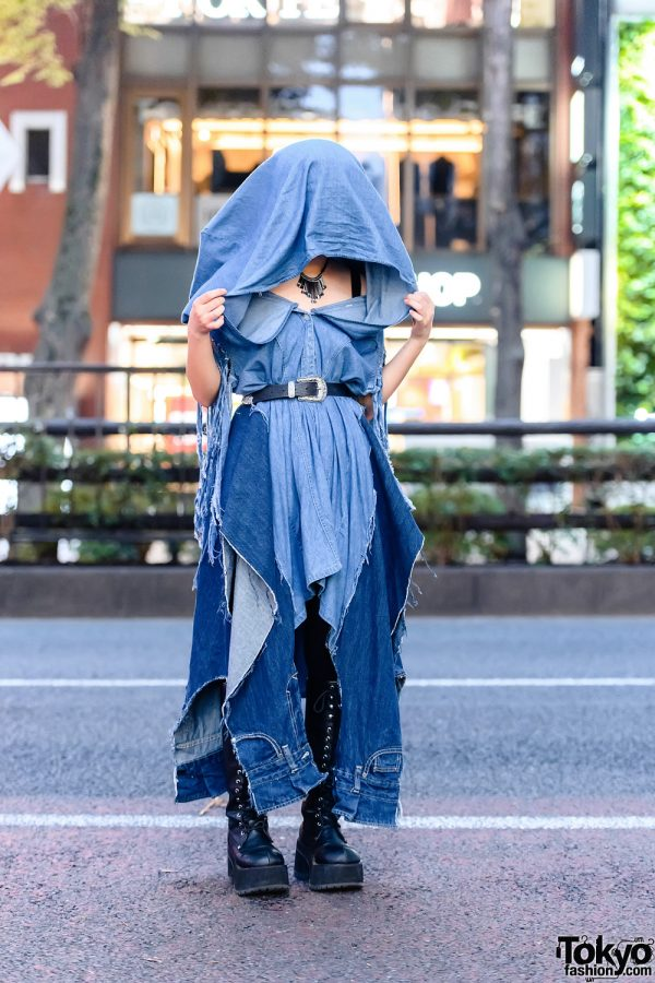 Deconstructed Denim Tokyo Street Style w/ Fringe Necklace, Handmade Hooded Dress, Black Tights & Demonia Knee-High Boots