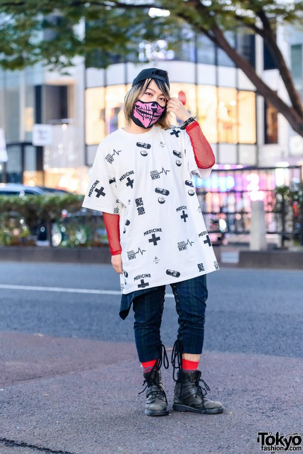 Milkboy Casual Tokyo Streetwear Style w/ Two-Tone Bob, Skull Mask, Fishnet Sleeves, Laced Plaid Pants & Dr. Martens Boots