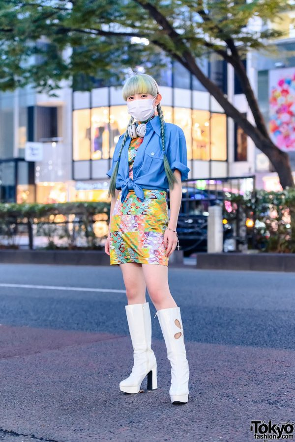 Harajuku Street Style w/ Twin Pastel Braids, Beats Headphones, Rosary Bracelet, Kilo Shop Shirt, Pinnap Dress & OK Cutout Boots