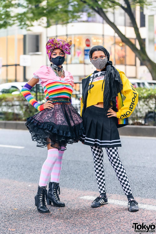 Colorful Harajuku Street Styles w/ House of Aris Mask, Fingerless Gloves, Bodyline, Polaroid Jacket, Killstar & Adidas Sneakers