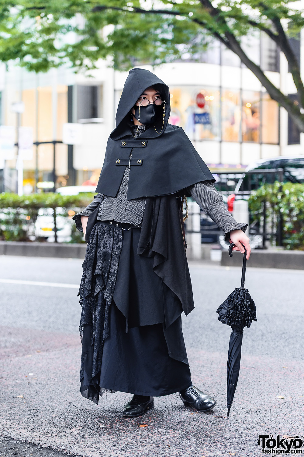 Dark Tokyo Gothic Street Style w/ Atelier BOZ Hooded Cape, Moi-Meme-Moitie Asymmetric Skirt, Ruffle Umbrella & Dress Shoes