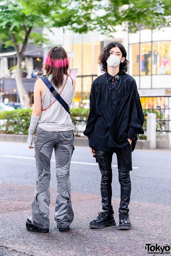 Japanese Duo's Street Styles w/ Face Mask, Theory Tank Top, MYOB Panelled Pants, Christopher Nemeth Boxy Shirt, Rick Owens DRKSHDW, Dior, New Rock & Eytys