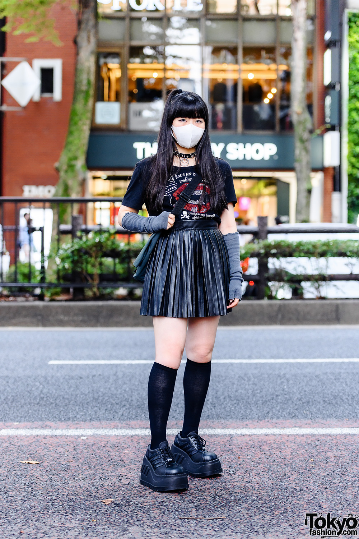 Edgy Modern Harajuku Street Style w/ Kinji Graphic Tee, Agijagi Mini Skirt, Demonia Platform Shoes & Nevermind The XU Choker