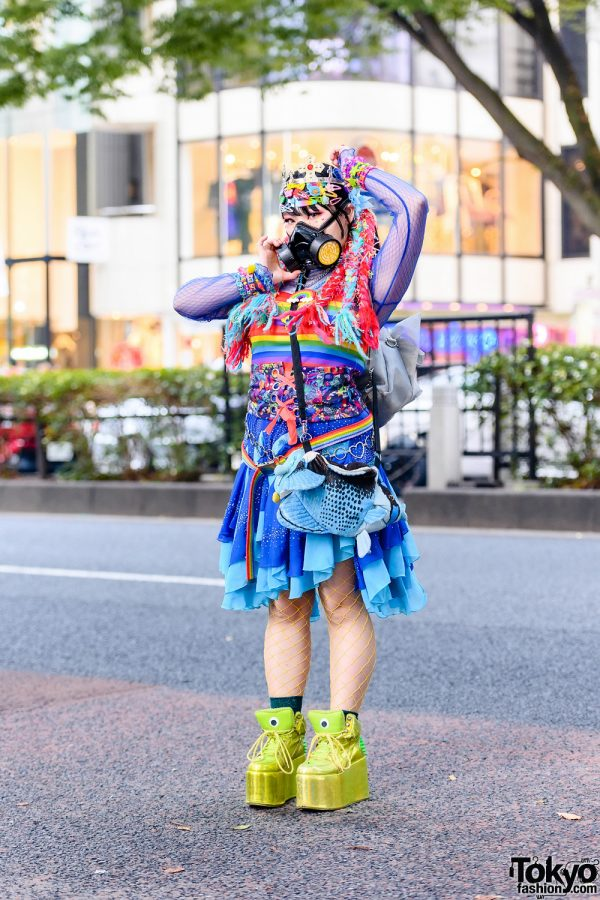 Decora Tokyo Style w/ Braided Hair Falls, Gas Mask, Daiso Crown, Yoshida Beads, WEGO, Kobinai Rainbow Top, 6%DokiDoki, Oribag & YRU Platforms