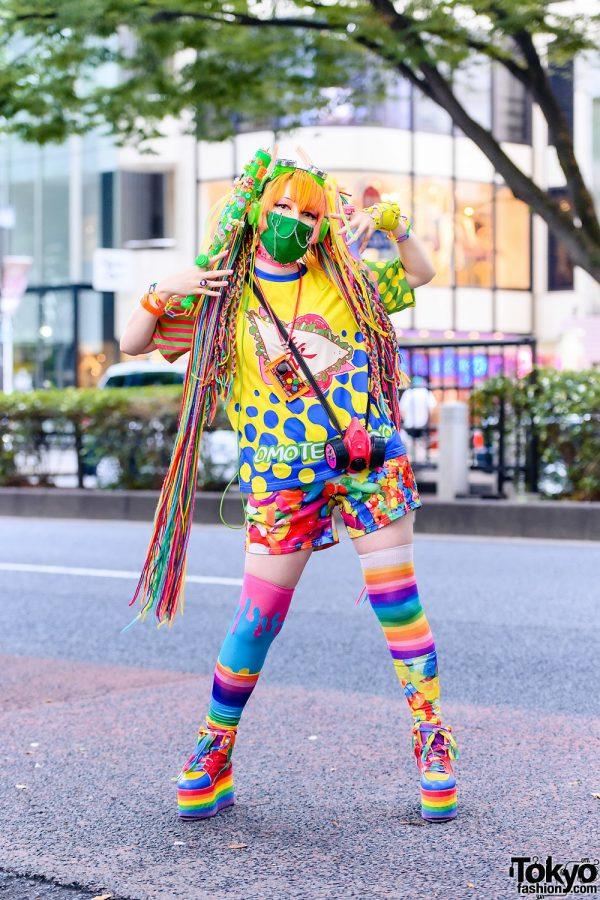 Colorful Harajuku Fashion w/ Rainbow Hair Falls, ACDC Rag Clothing, YRU Platforms, Aika Electronics, 6%DOKIDOKI Bracelet & Handmade Accessories
