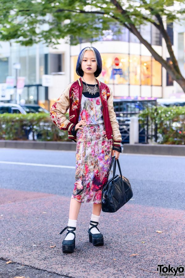 Gauntlett Cheng Print Dress w/ Vintage Sukajan Jacket, Comme Des Garcons, New York Joe & Vivienne Westwood Bag