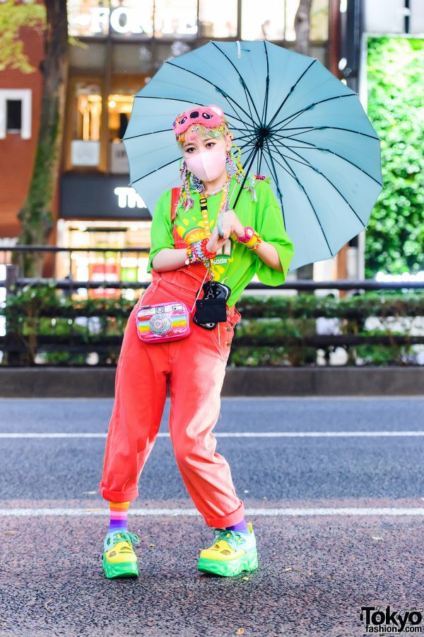 Kawaii Harajuku Street Style w/ Yarn Hair Falls, Mask, Umbrella, Resale, Cuffed Overalls, Claire's Camera Bag & Yosuke Platforms