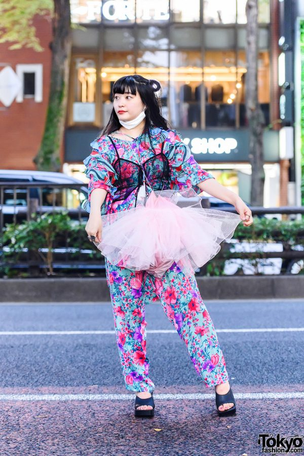 Diane Freis Floral Print Coords in Harajuku w/ Twin Buns, Sheer Lingerie Top, Mom's Disappointment Tulle Bag & Sometimes Store Peep-Toe Heeled Slides