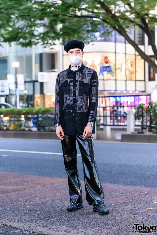 All Black Tokyo Street Style w/ Black Beret, Sheer Shirt, Linder Turtleneck Top, John Lawrence Sullivan Faux Leather Pants & Nike Sneakers
