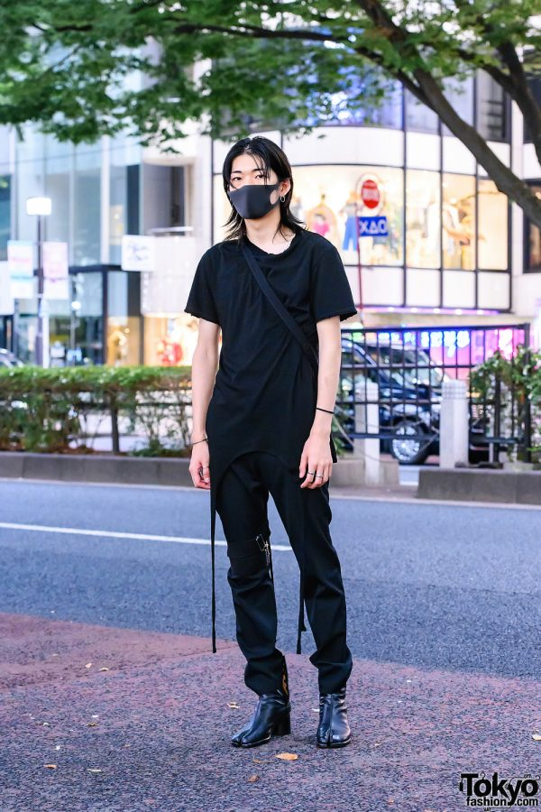 All Black Minimalist Fashion w/ Perverze Long Shirt, Keisuke Yoshida Pants, Maison Margiela Tabi Boots & Chrome Hearts Jewelry