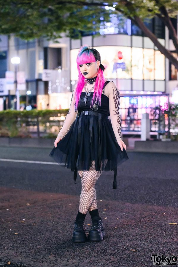 Goth Punk Tokyo Street Style w/ Cyber Hair, Cracked Makeup, Disturbia Clothing Spiked Choker, Tattoo Sleeve Shirt, Punk Rave Harness Dress, Fishnets & Demonia